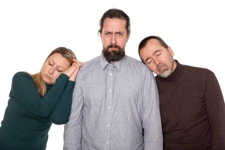 cansancio: Burnout síndrome de un grupo de personas Foto de archivo