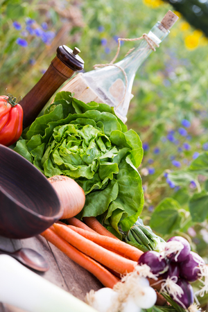 fairtrade: organic vegetables on a table, concept organic farming, agriculture and healthy lifestyle