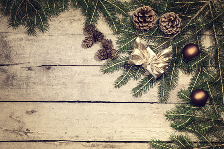brushwood: vintage filtered christmas background with fir cones and branch