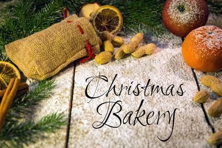 christmas table: festive xmas candy on a wooden table, christmas bakery