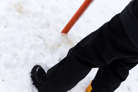 forbade: Close up Man is peeing in the Snow Stock Photo