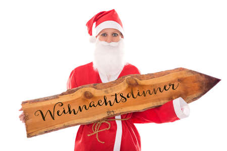santa girl: Santa Girl holding a wooden board with german word, isolated on white, concept invititation to a Christmas dinner Stock Photo