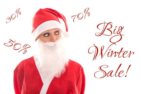 santa girl: sweet Santa Girl looking to Text Big winter sale, isolated on white, concept shopping and discounts