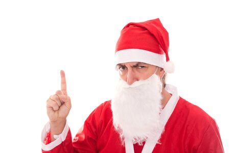 urging: Santa Claus with grumpy face showing to Copyspace, isolated on white, concept christmas Stock Photo