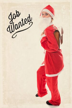 santa girl: Santa Girl with a satchel on the back, Text Job wanted, vintage background, concept unemployment and job seeking