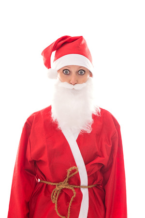 beholder: funny Santa Girl looking to the Beholder, isolated on white, concept Christmas and suit