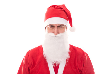 grouch: Grumpy Santa Claus looking to the Beholder, isolated on White, Concept Christmas and santa´s little helper Stock Photo