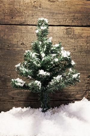 fir  tree: a christmas card with a fir tree and snow