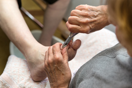 chiropodist: a chiropodist with a nail scissors at a home visit