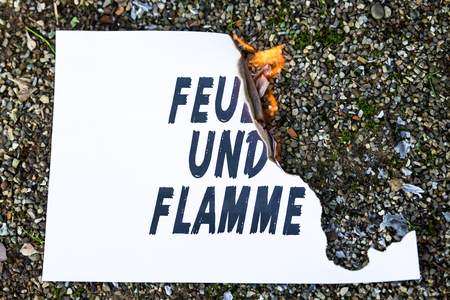 flamme: burning paper on the ground, with the german sentence feuer und flamme, means be on fire Stock Photo