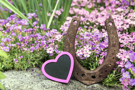 romantically: pink heart and horseshoe in front of a romantically spring meadow Stock Photo