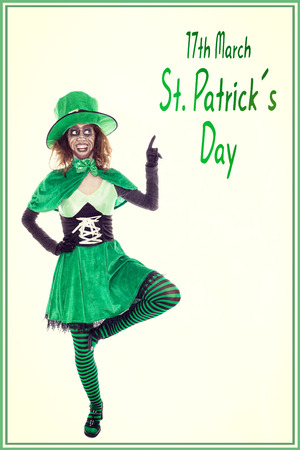 17th of march: funny green leprechaun showing on text 17th march st. patrick´s day, vintage filtered