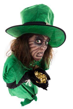 leprechaun background: evil leprechaun girl holding a treasure, concept Legends and Ireland, isolated on white