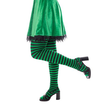 Eine Lustige Grüne Kobold Zeigt Auf Exemplar, Isoliert Auf Weiß ...