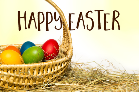 coloured easter nest with text happy easter