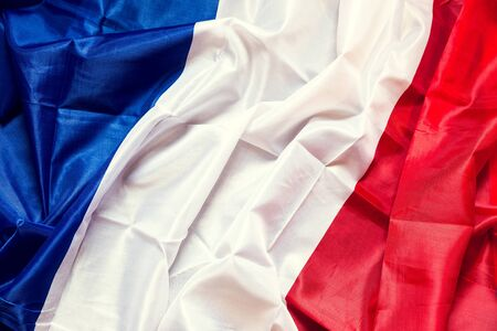 european: wrinkled france Flag with copyspace, concept European Country Stock Photo