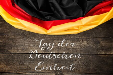 unity: Germany Flag with germany Text for the german unity day on 3th october Stock Photo