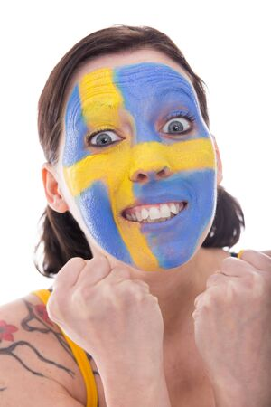 cheerfully: pretty female fan from sweden is cheerfully, isolated on white Stock Photo