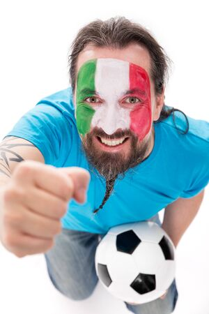 european championship: Italian soccer fan is happy and excited, isolated on white, concept football and Tifoso