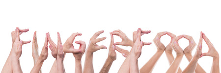 fingerfood: word fingerfood builded with lot of hands, isolated in front of white