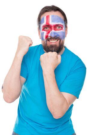 icelandic: male Icelandic fan is happy, concept soccer