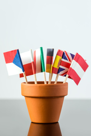 plant pot: plant pot with different flags Stock Photo