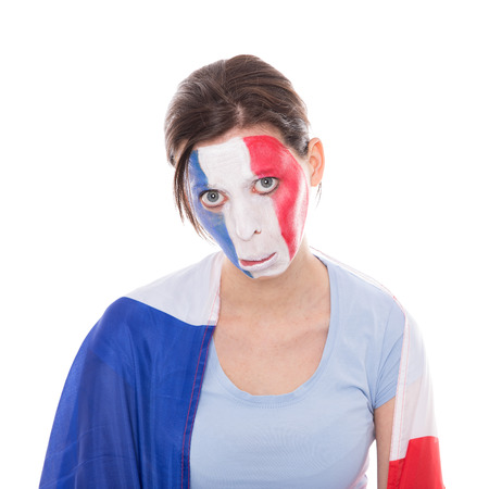 sadly: Sadly female french fan with a flag, isolated on white Stock Photo