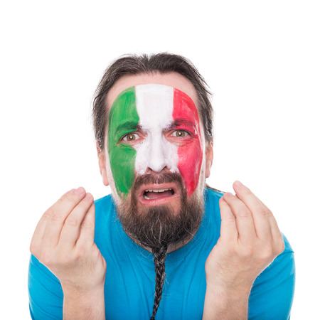 sadly: Italian Fan is disappointed and sadly, isolated on white