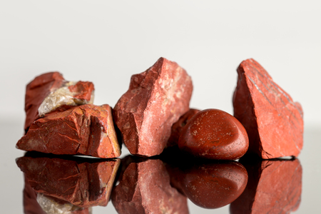 crystal healing: Red Jasper, uncut and polished, crystal Healing, reflections
