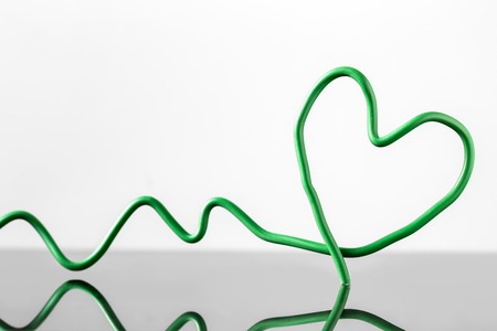 reflections: Green wire Heart with Reflections, concept Love