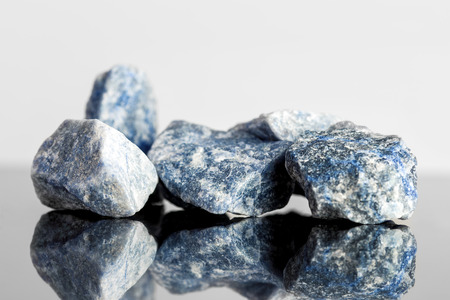sodalite: Blue sodalite, uncut, reflections, concept alternative medicine Stock Photo