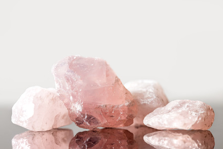 Rose quartz uncut, crystal healing for love and heart, reflections