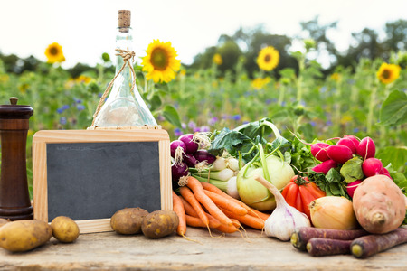 organic vegetables on a table, concept organic farming, agriculture and healthy lifestyle