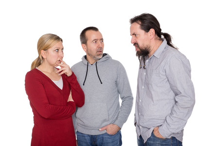offend: a man is shouting to a couple