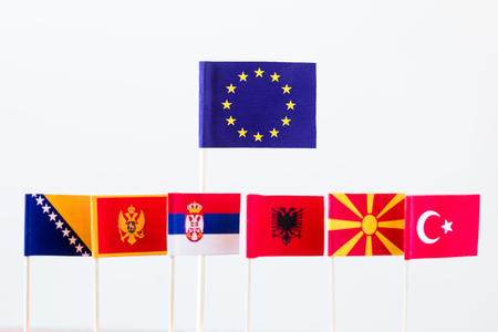 serbia and montenegro: flags of candidates for eu membership, big banner of eu