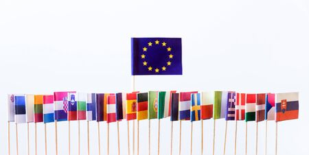 flagship: flags of the european union members, big banner of eu, without great britain Stock Photo