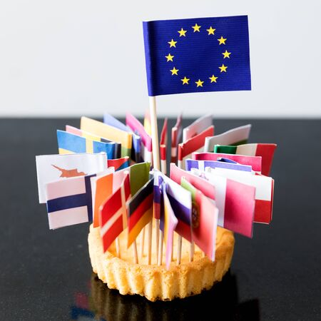 holand: flags of european union in a cake, without great britain