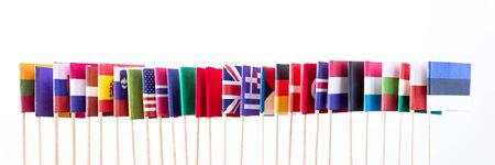 north atlantic treaty organization: the flags of the members of the nato, horizontal in a line Stock Photo
