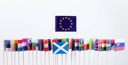 scotish: flags of the european union members, big banner of eu, with scotish flag, concept brexit