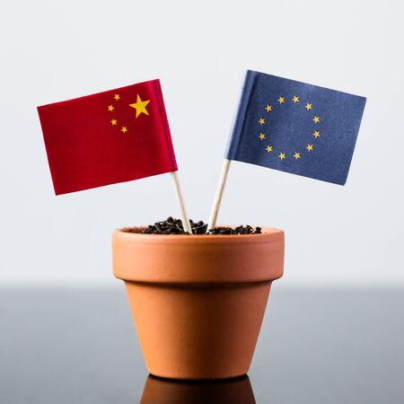 bilateral: flags of china and europe in a plant pot Stock Photo