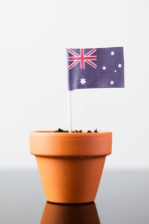flag of australia in a plant pot, concept economy growth