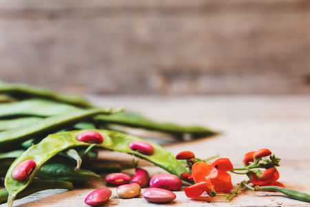 garden beans on a wooden table with blossoms and copyspace Stock Photo