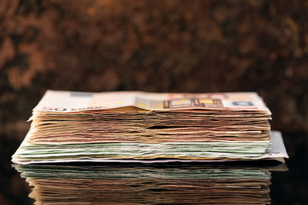 Euro Stack, banknotes of fifties and hundrets, concept pension and capital