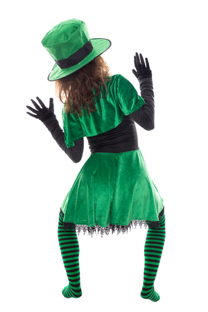 Back view from a Leprechaun, isolated on white, concept st. patrick?s day