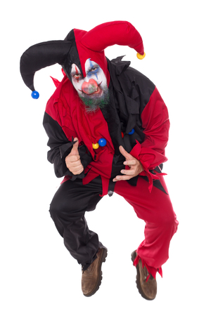 a evil jumping Jester, isolated on white, concept Horror and Halloween