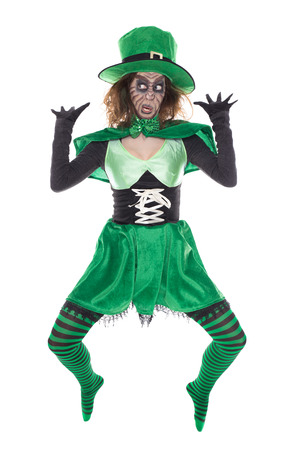 funny green Leprechaun girl, isolated on white, concept st. Patrick�s day and ireland