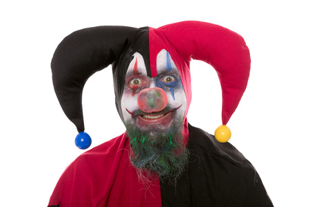 Portrait of a Jester, isolated on white, concept Halloween