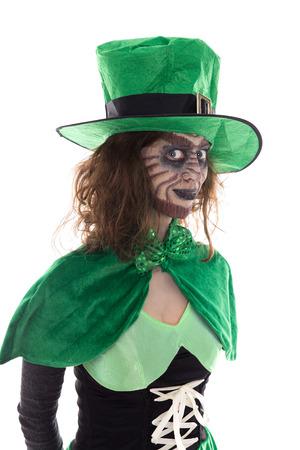 Portrait of a Leprechaun girl, isolated on white, concept Ireland Stock Photo
