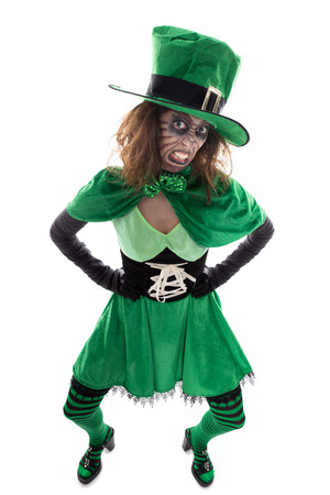 a evil green goblin girl, isolated on white, concept irish traditions
