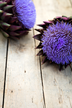 cardunculus scolymus: two artichokes on a wooden table, topview with copyspace, vertical